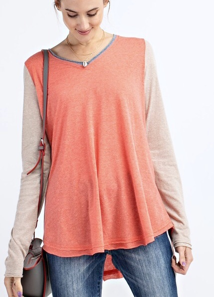 Coral Mix Long Sleeve V-Neck Top