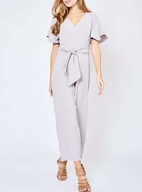 Light Grey Waist-Tie Ruffle Sleeve Romper