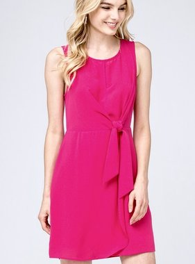 Fuchsia Sleeveless Waist-Tie Dress