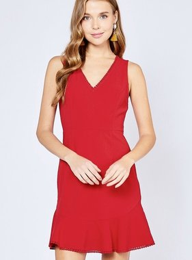 Red Sleeveless Trim-Neck Dress