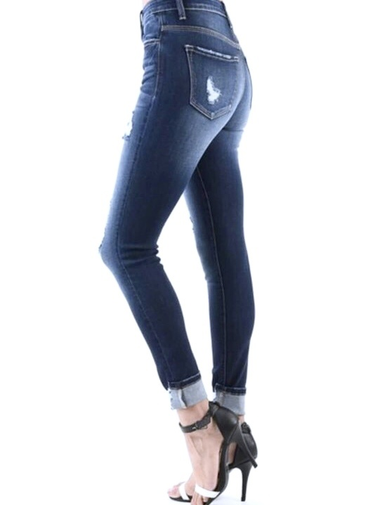 Dark Mid Rise 3-Button Lightly Distressed Skinny Jeans