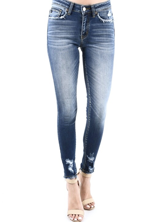 Semi Dark Mid Rise Lightly Distressed Pockets Skinny Jeans