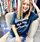 "Navy ""Weekends"" T-Shirt"