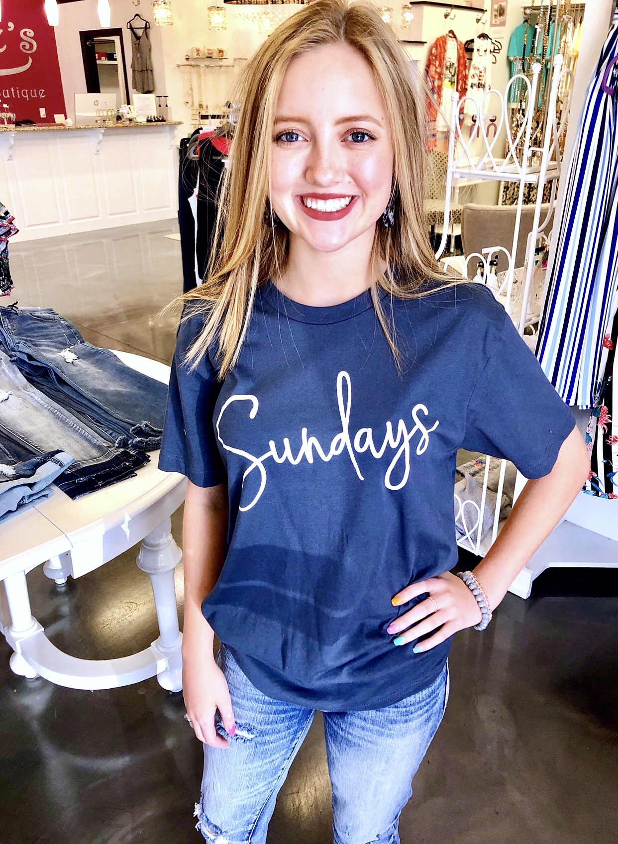 "Navy ""Sundays"" T-shirt"