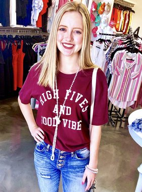"Burgundy ""High Five"" T-shirt"