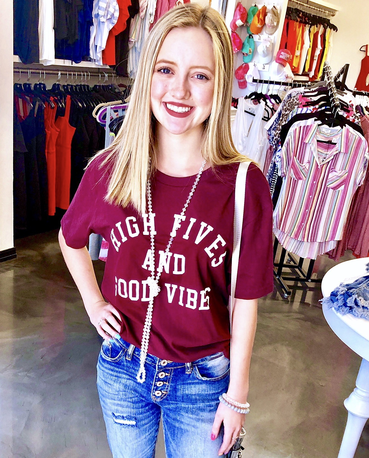 "Burgundy ""High Five"" T-shirt"