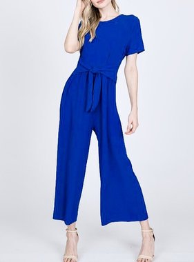 Wrap It Up Bow Jumpsuit Royal Blue