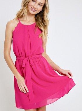 Hot Pink Halter Mini Dress