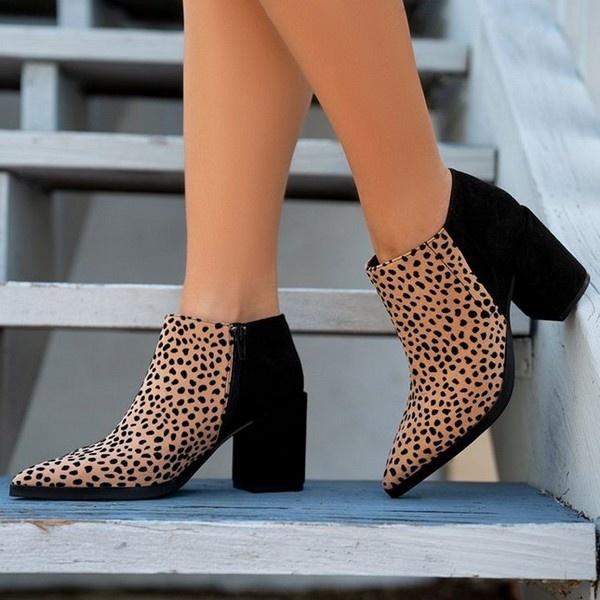 Whit Leopard/Black Bootie