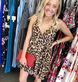 Brown Animal Print Sleeveless Waist-Tie Dress
