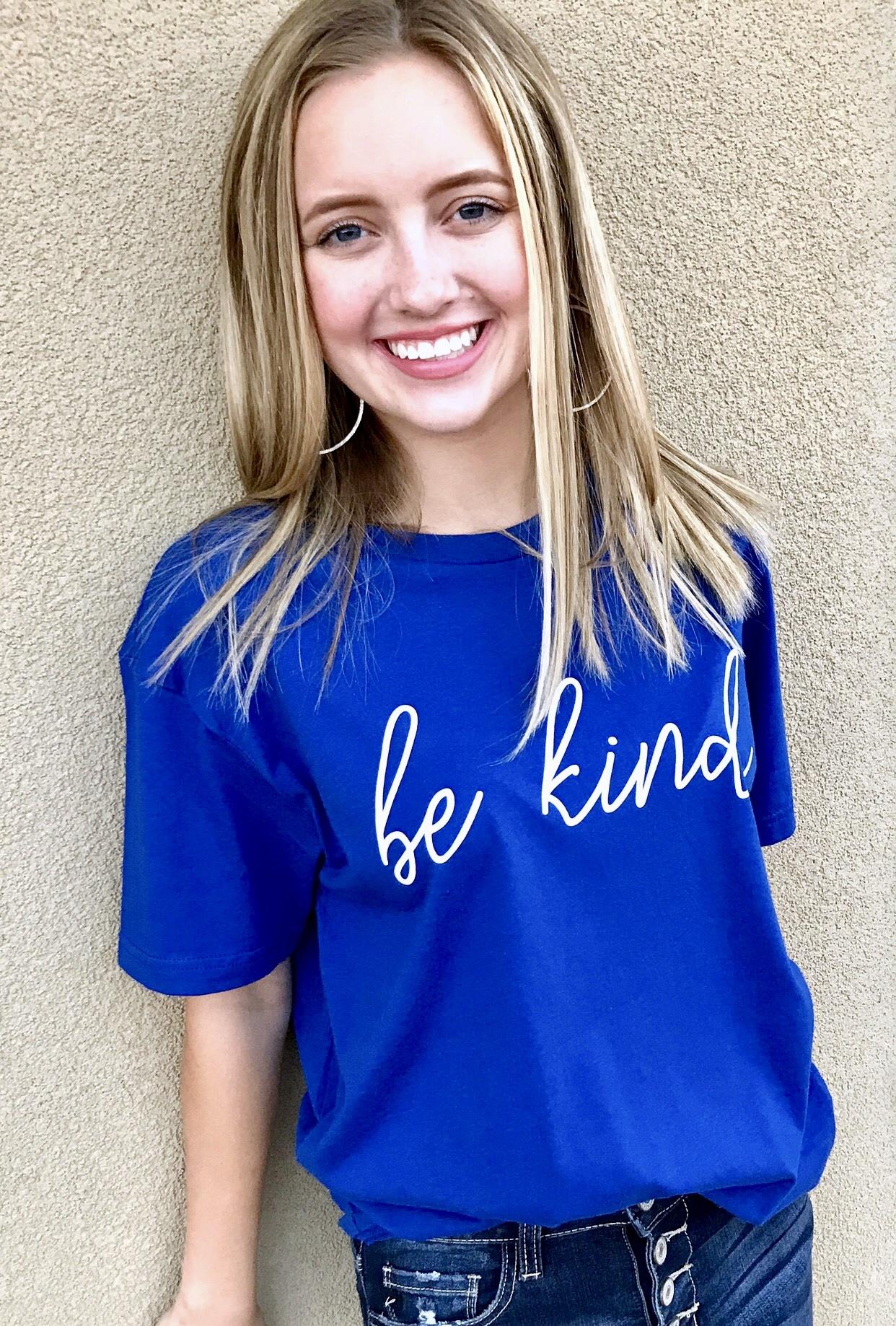 Blue "Be Kind" T-shirt