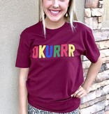 "Burgundy ""OKURR"" T-shirt"