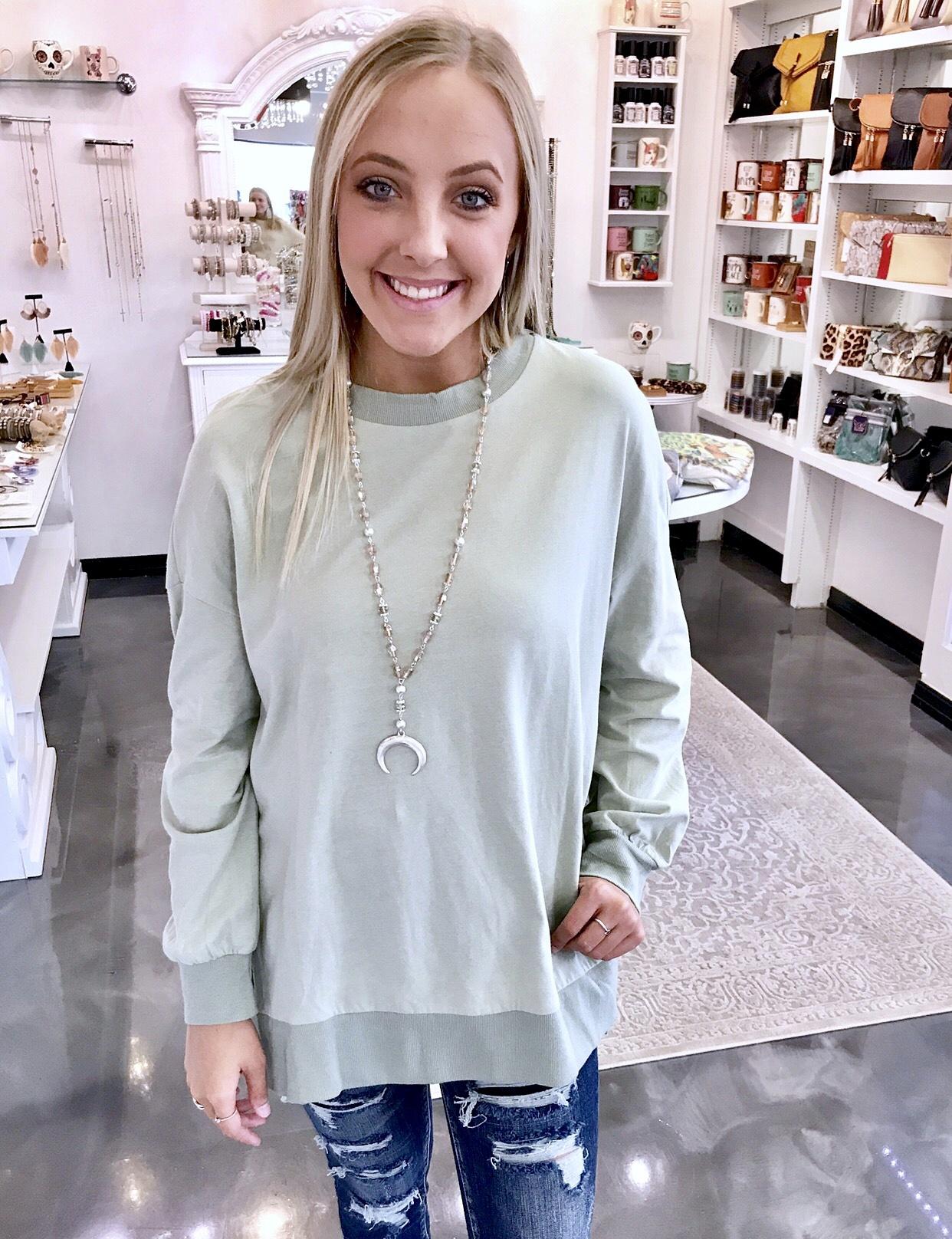 Long Sleeve Sweatshirt with Slits Sage