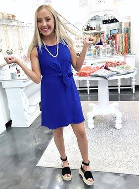 Royal Blue Sleeveless Waist-Tie Dress