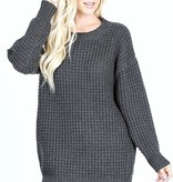 Charcoal Waffle Knit Sweater Top