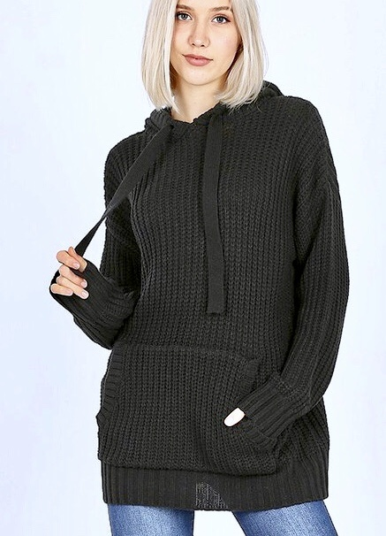 Black Waffle Knit Sweater Hoodie