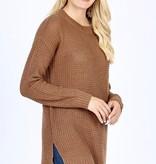 Mocha Waffle Knit Sweater Top