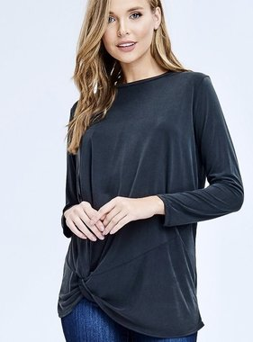 Faded Grey Front Tie Long Sleeve Top