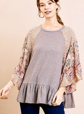 Charcoal Floral Bell Sleeve Waffle Knit Top