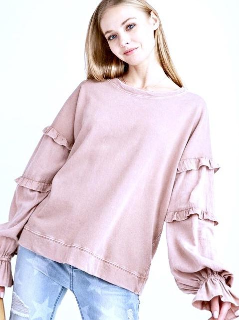 Rose Ruffled Long Sleeve Top