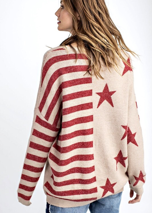 Red Flag Knitted Sweater Top