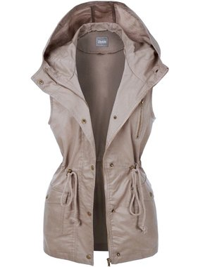 Mocha Military Cargo Vest with Hood