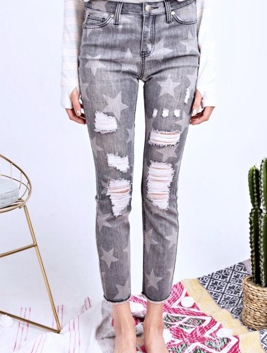 Faded Grey Star Printed Distressed Denim Pants