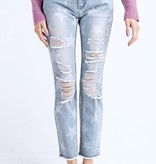 Faded Blue Star Printed Distressed Denim Pants
