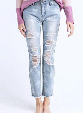 Faded Blue Star Printed Distressed Denim Pants