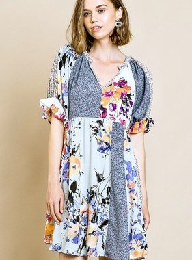 Sage Floral Combo 3/4 Ruffle Sleeve V-Neck Dress