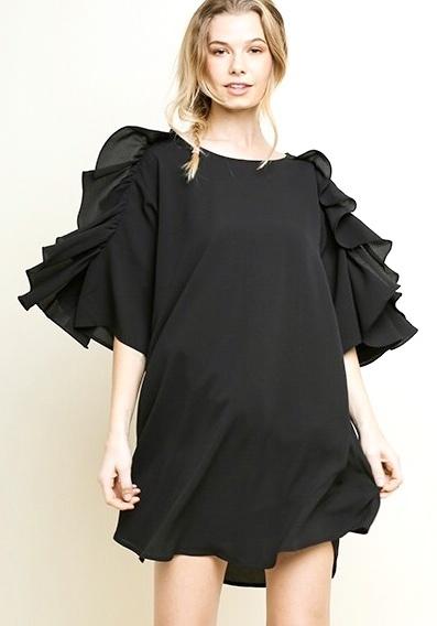 Black Ruffle Bell Sleeve Scoop Hem Dress