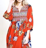 Red Floral 3/4 Puff Sleeve Button Split Neck Dress
