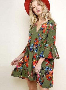 Olive Floral Bell Sleeve V-Neck Dress