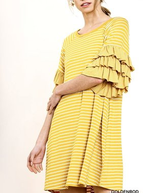 Goldenrod Striped Ruffle-Layered Sleeve Dress with Pockets