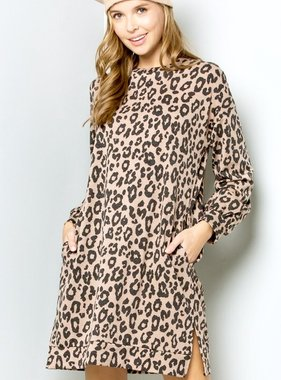Mocha Leopard Tunic Dress