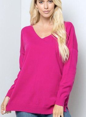 Hot Pink Cozy Knit Sweater