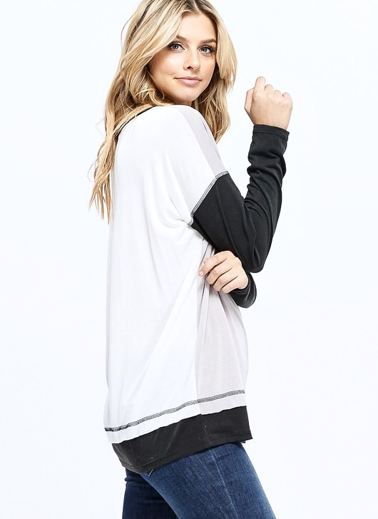 Charcoal/White LS Top