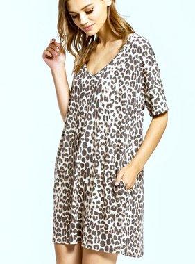 Leopard V-Neck T-shirt Dress