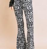 Grey Leopard Stretch Flare Pant