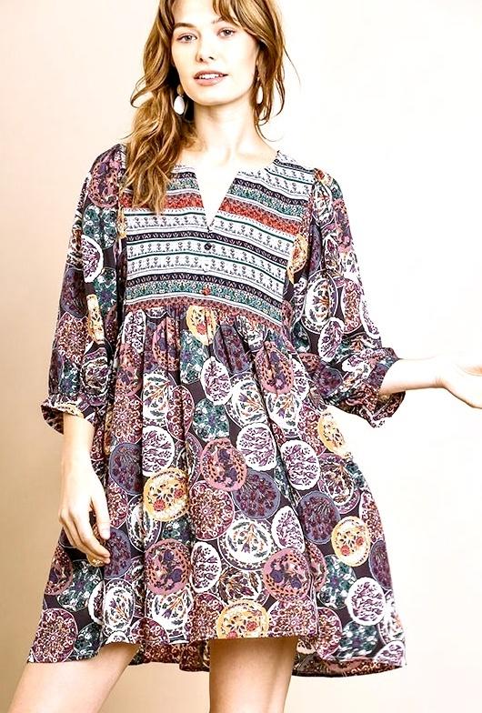 Plum Mix Button Dress