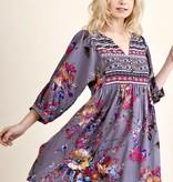 Grey/Pink Mix Peasant Dress