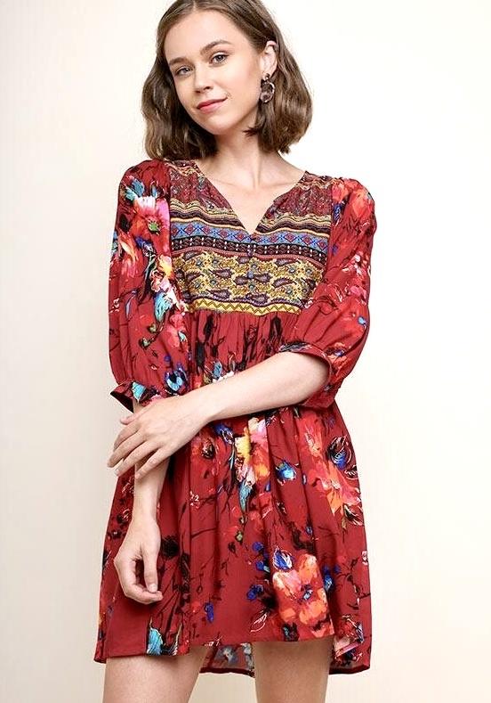 Burgundy Mix Peasant Dress