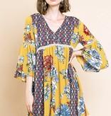 Goldenrod Mix Floral Mix Babydoll Dress