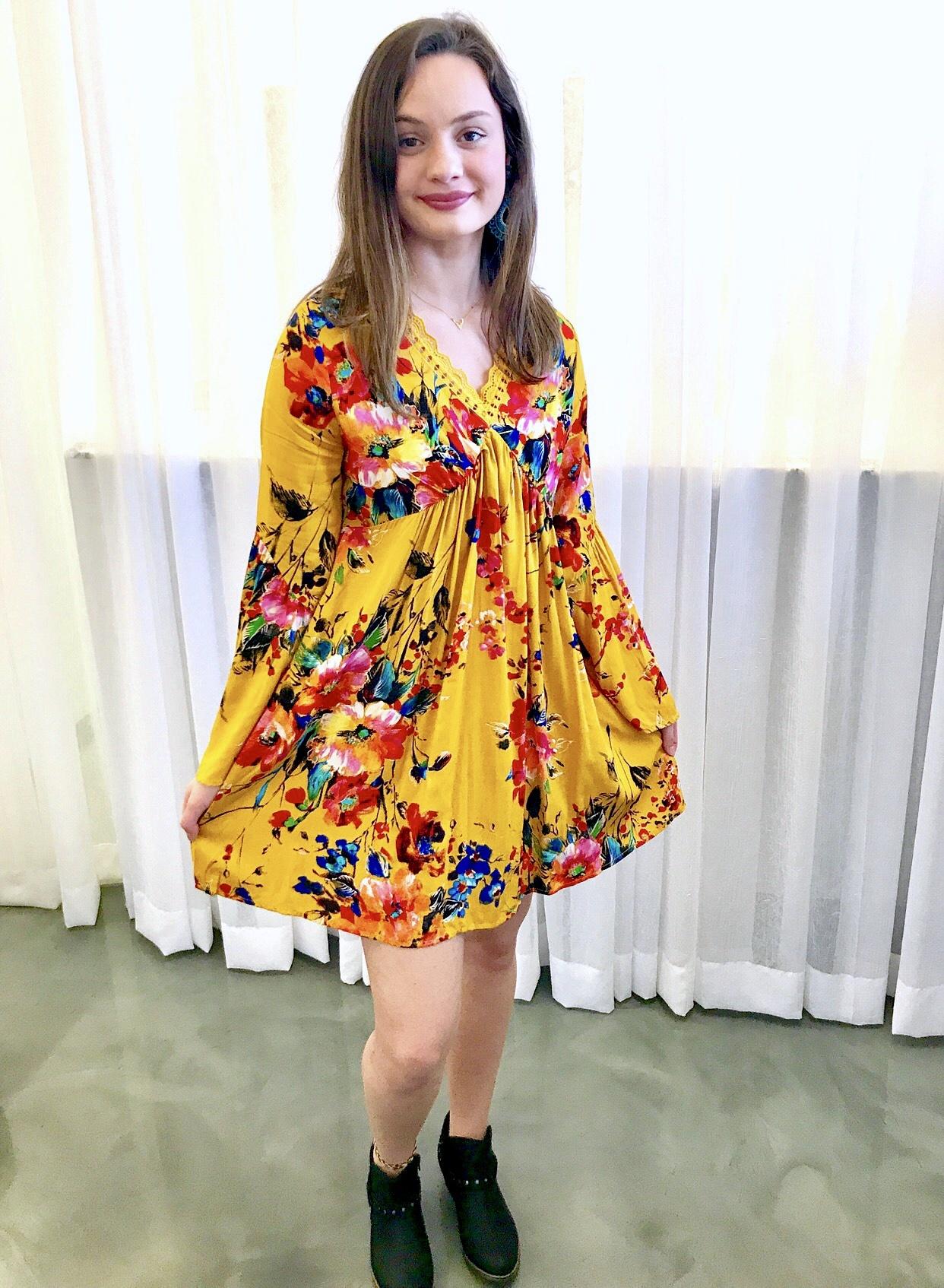 Mustard Floral Bell Sleeve V-Neck Dress