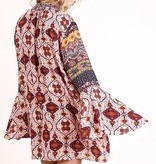Berry Mix Trumpet Sleeve V-Neck Tie Tunic