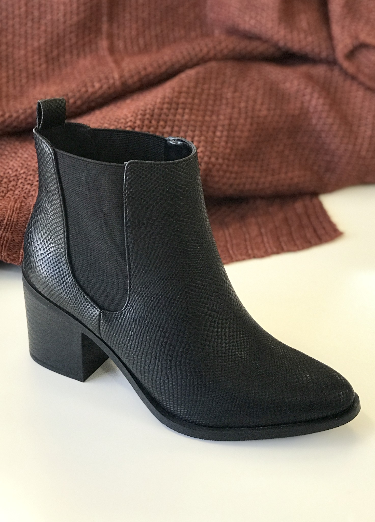 Whit All Black Snake Bootie