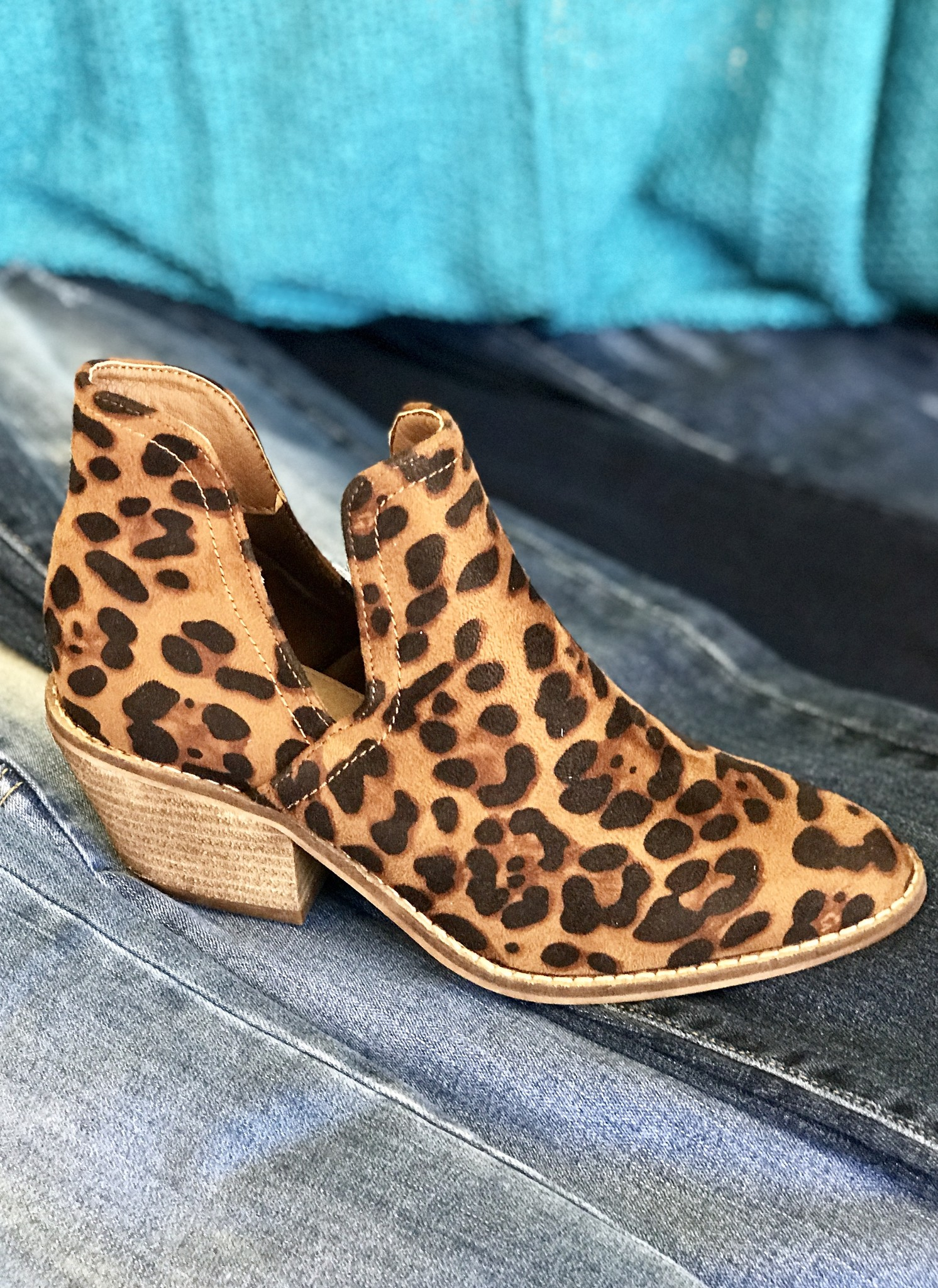 Sasha Leopard Side Slit Bootie
