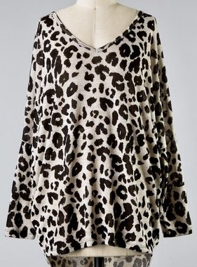 Taupe LS Leopard Long Top