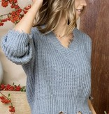Grey Distressed V-Neck Sweater