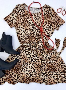 Brown Leopard Babydoll Dress